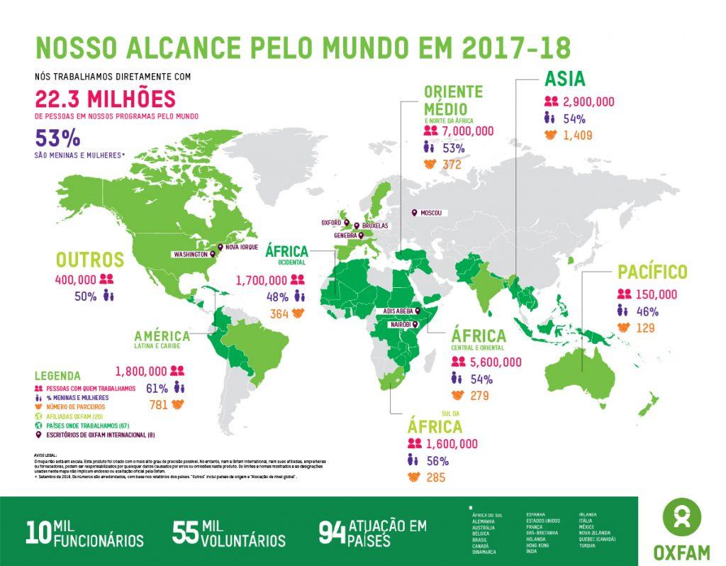 Mapa da atuação global da Oxfam