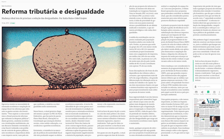 Artigo do jornal Valor Econômico sobre a reforma tributária e desigualdade no Brasil.